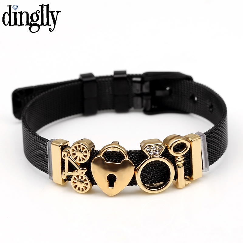DINGLLY Fashion New Black Stainless Steel Mesh Bracelets For Women Heart Lock Key Bike Golden Beads Brands Bracelets Gifts