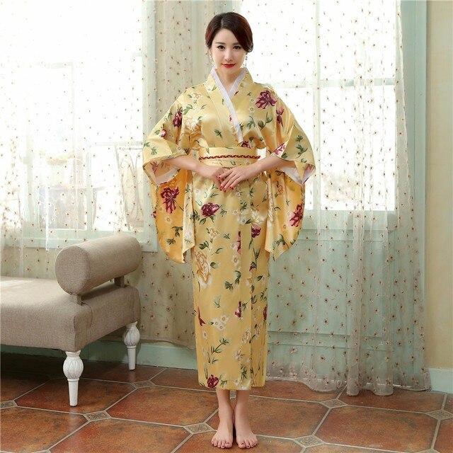 Vitnage Çiçek Japon Geleneksel Kadın Kimono Kıyafeti Yeni Stil Baskı Yukata Elbise Yenilik Performans Giyim Cosplay Kostüm