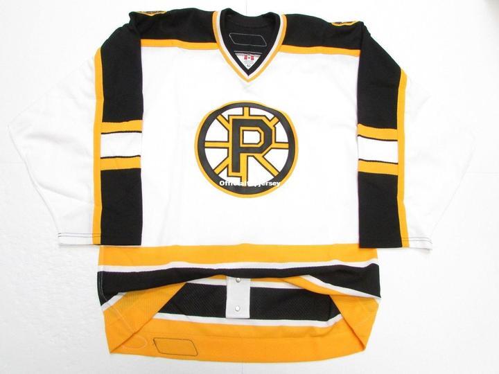Providência Bruins Premier Branco Personalizado Duplo Costurado Jerseys