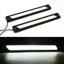 купить 2 pcs Car LED Silicone Waterproof DRL Strips 12V COB LED Automobile Daytime Running Light Medium Lights Car Styling White Blue дешево
