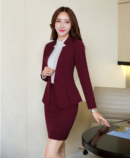 c6833f3e0f Formal Oficina uniforme diseños mujer negocios Trajes falda y chaqueta Sets  señoras vino rojo chaqueta elegante