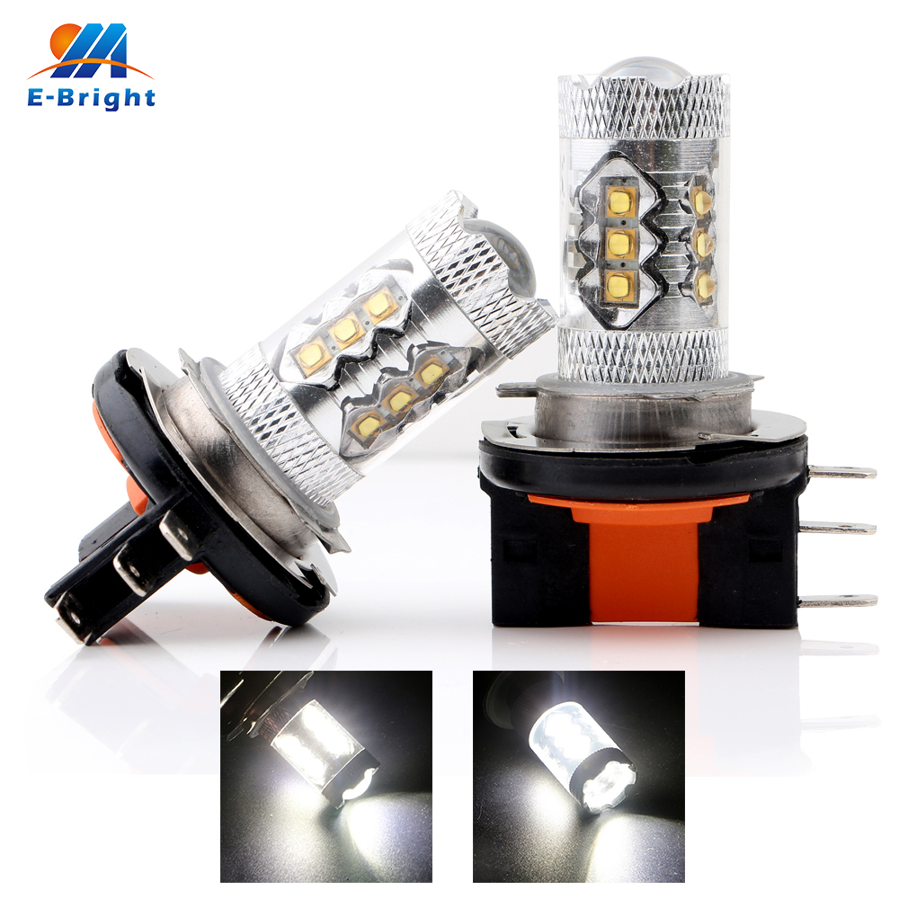Car Headlight Bulbs(led) 2pcs 80w 16 Smd Lens Highlight Leds Bulb H15 6500-8000k 1920lm Socket Turn Singnal Warning Fog Lamp White Dc 12v/24v Fine Craftsmanship