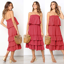 bebd63d935 Women s 2 Two Pieces Set Sexy Layered Ruffle Top Shirt Loose Cake Skirt  Two-Piece Sleeveless Strapless Mid-Calf Dress Set CF1859