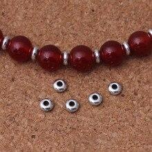 50 шт./лот, тибетские серебряные плоские круглые крошечные металлические бусины, 5 мм, украшение, бисер, разделитель, аксессуары, сделай сам, ювелирные изделия, браслеты, подарок