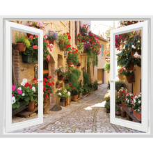 Creative 3 d simulation window stickers of the head a bed painting pastoral landscape false living room