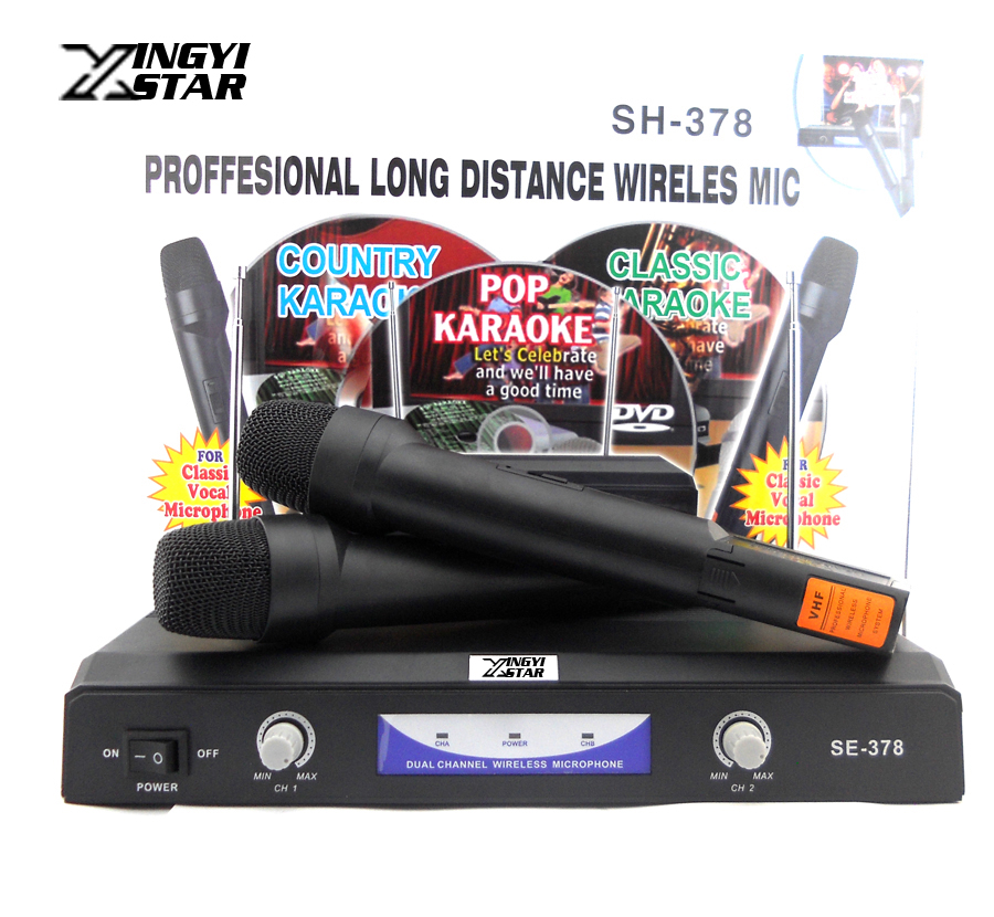Professional VHF Dual Wireless Microphone System Mic For Karaoke Singing KTV Stage Conference Computer Microfone Sem Fio free shipping professional uhf wireless microphone system mic mike for karaoke ktv stage dj dynamic microfono sem fio microfone