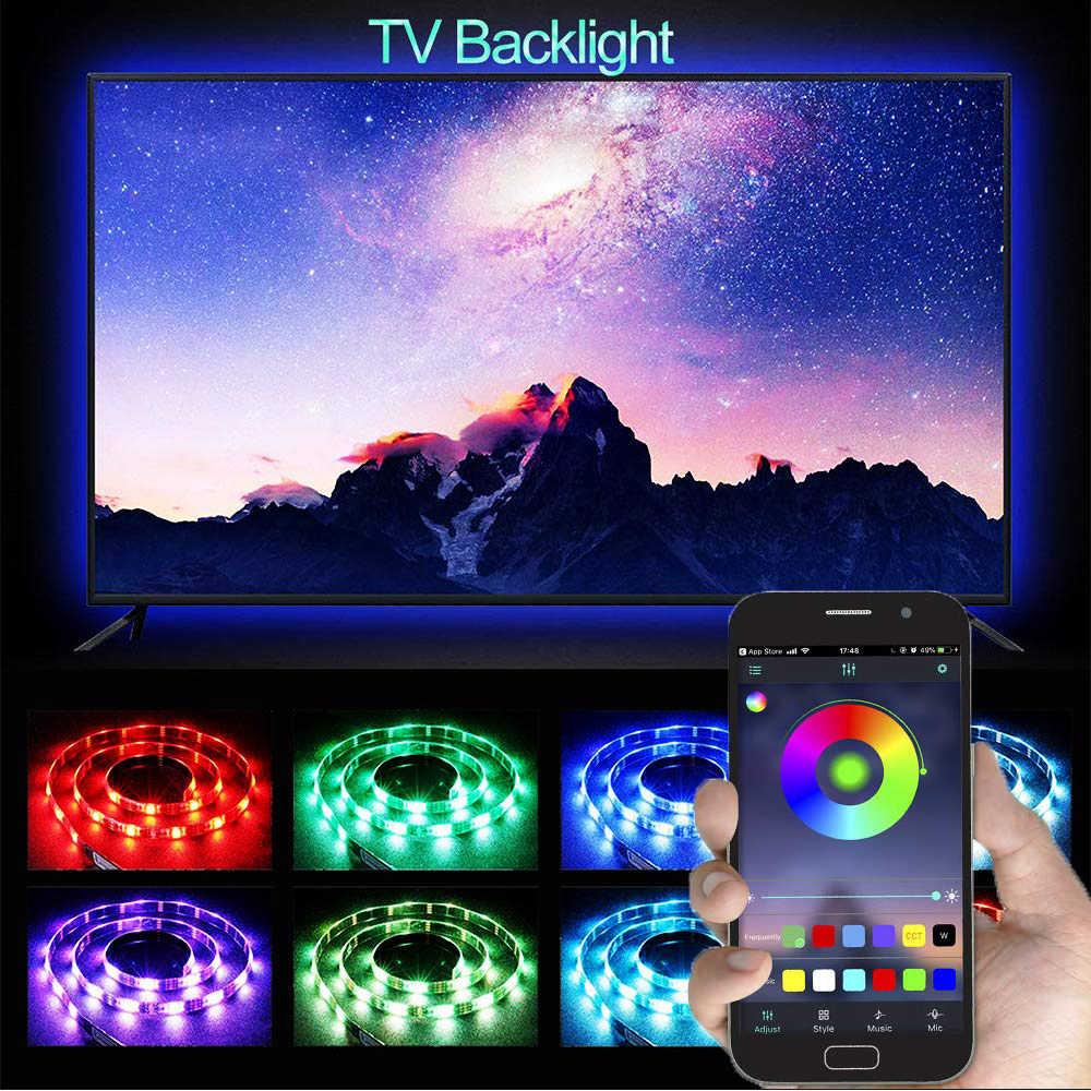 5 V USB Power LED Strip Cahaya RGB 5050 SMD Bluetooth Desktop LED Strip Verlichting PC TV Layar Lampu Latar Verlichting 50 CM 1 M