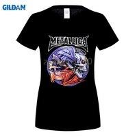 GILDAN Rock n Roll Fresco Negro mujeres de La Camiseta 100% algodón verano skull printed Camiseta METALLICA la Banda de Hip Pop Tapas Ocasionales Tee
