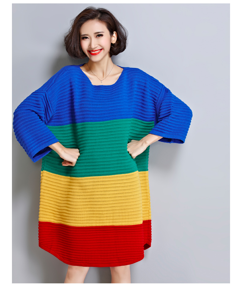 18fb90c9fde 2016 Loose European Color Matching Stripes Knit Sweater Dress Plus Size  Rainbow Batwing Sleeve Sweater Dress For Big Size Women -in Dresses from  Women s ...