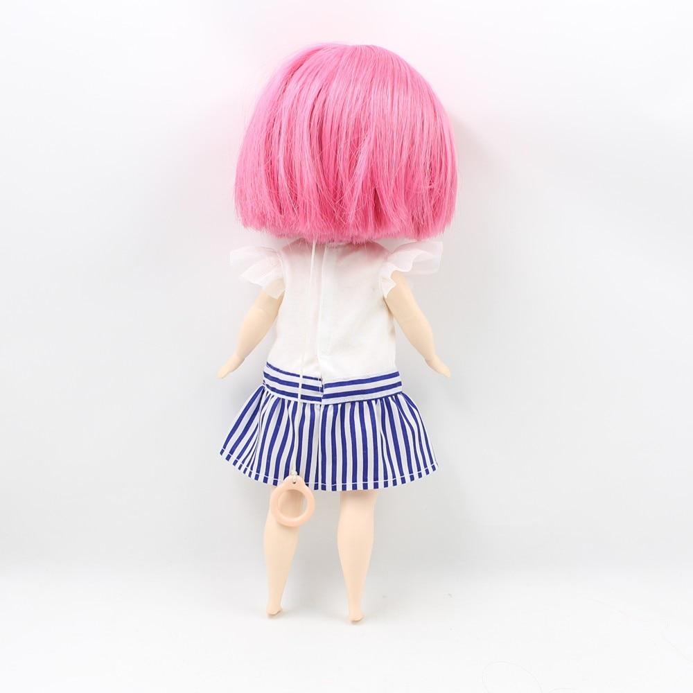 Neo Blythe Doll Plump Doll Dress White Blue Suit 4