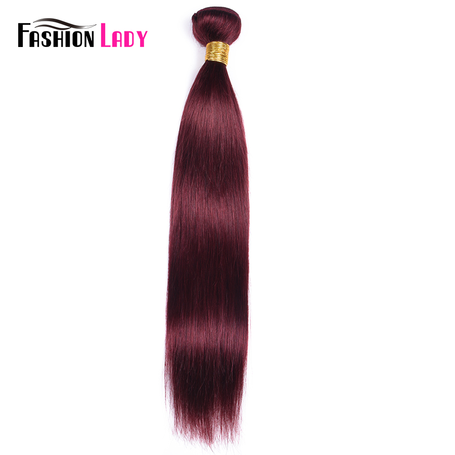 Fashion Lady Pre-colored Red Brazilian Hair Weave Bundles Straight Hair Bundles 99j 1/3/4 Piece Per Pack Hair Extension Non-remy