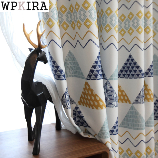 US $7.33 30% OFF Fashion Geometric Custom Curtain Contracted Contemporary  Curtains for Living Room Bedroom Shading Nordic Day Type Style 089&30-in ...