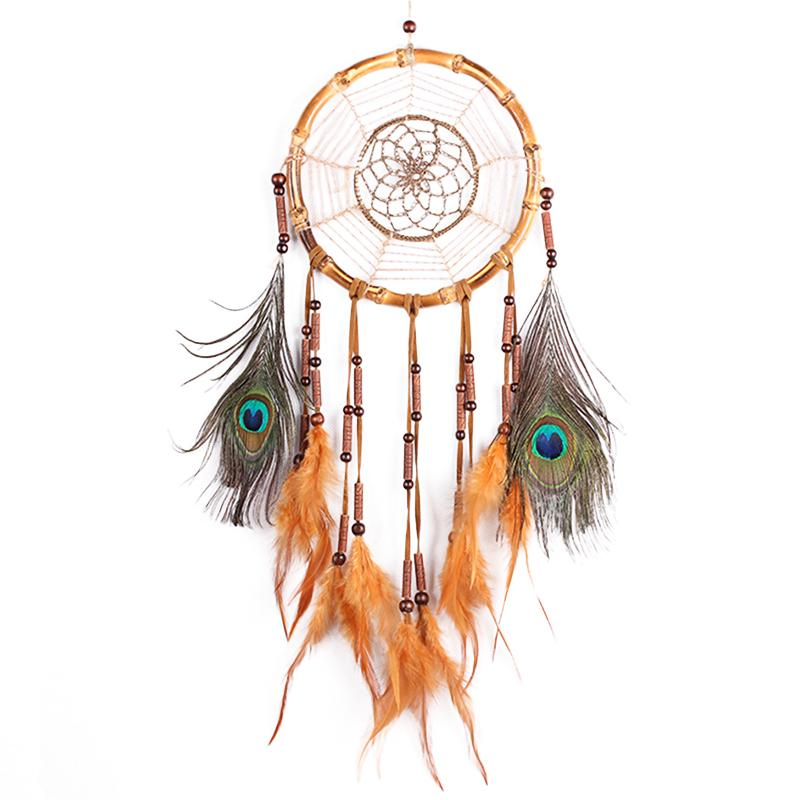 <font><b>MS1051</b></font> Old Bamboo Circle Crochet Flower Feather Pendant Dream Catcher Home Car Decoration Ornaments image