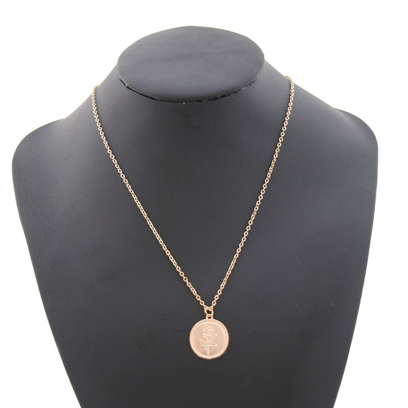 Gold Alloy Round Pendant Necklace for Women Simple Female Long Chain Coin Necklace Rose Flower Collier 18 Wholesale 4