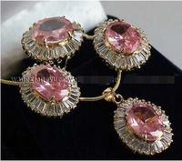 Free Shipping>>new hot Faceted Pink Crystal Earrings / Ring / Necklace Pendant Set AAA