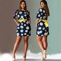 Plus size mulheres roupas 5xl 6xl daisy print dress meia manga mulheres primavera verão casual dress moda bodycon vestidos curtos
