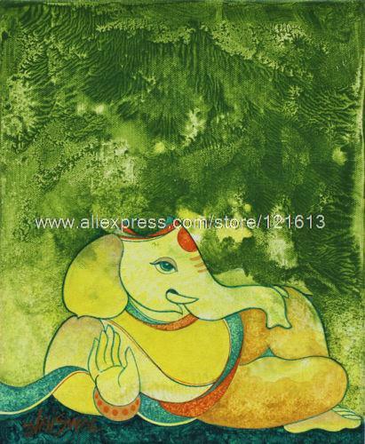 Ganesha In Natura Fine Art Orig. Indù Pittura Acrilica HandmadeIndia ...