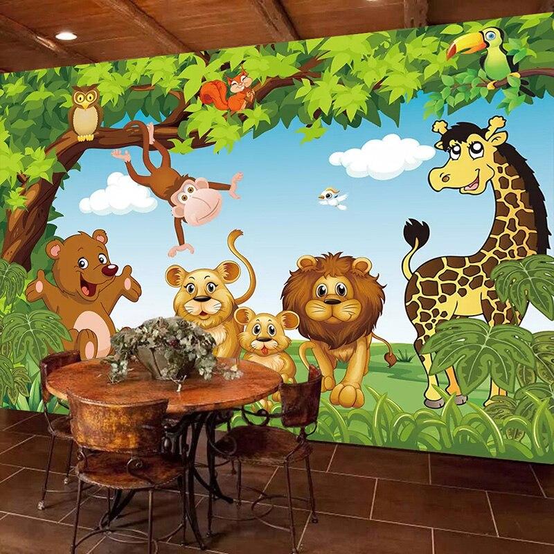 Custom 3d Mural Wallpaper Green Forest Cartoon Animals Children Room