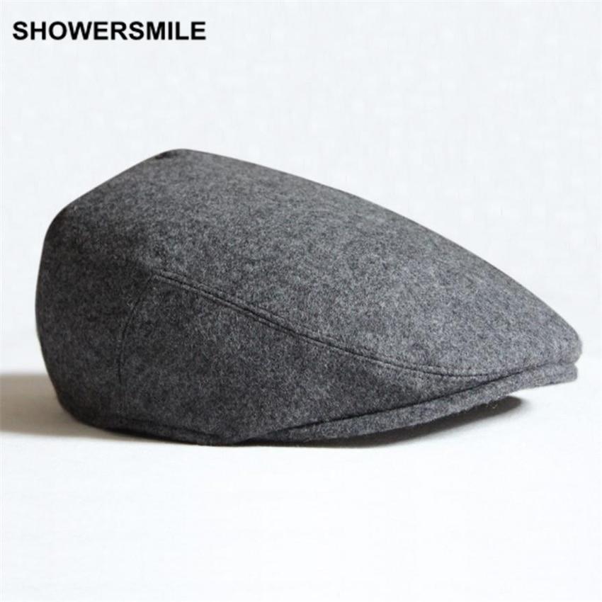 SHOWERSMILE márka beret férfiak téli lapos sapka gyapjú szürke fekete zöld szilárd alkalmi évjárat Newsboy kalap és sapkák brit stílus