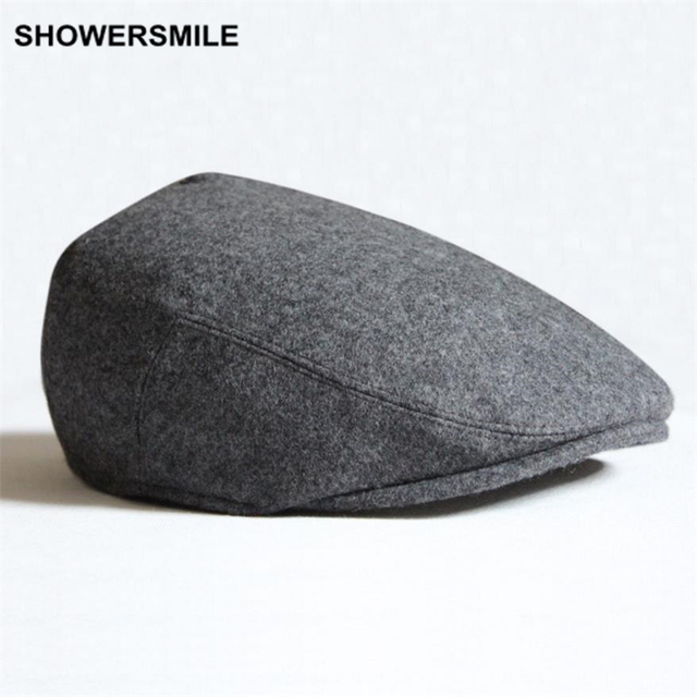 SHOWERSMILE Brand Beret Men Winter Flat Cap Wool Gray Black Green Solid  Casual Vintage Newsboy Hat And Caps British Style 906dd5c9a30
