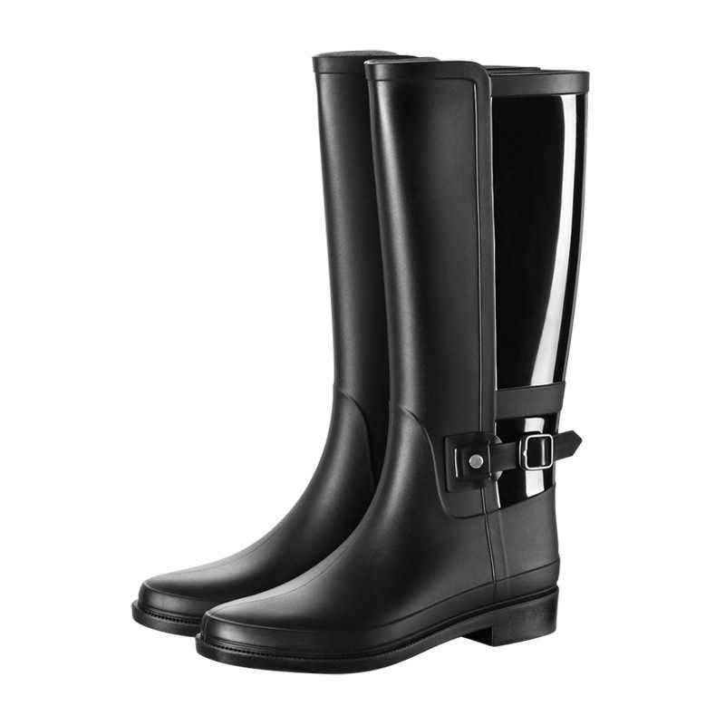 Yağmur çizmeleri kadın su geçirmez PVC orta buzağı yağmur çizmeleri kadın yuvarlak ayak kayma siyah düşük topuk yağmurlu ayakkabı çizmeler kadınlar için