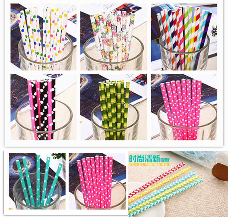 25 шт бумажные соломки для дней рождения вечерние украшения дети окружающей среды Творческий питьевой бумаги соломы Свадебные украшения вечерние поставки