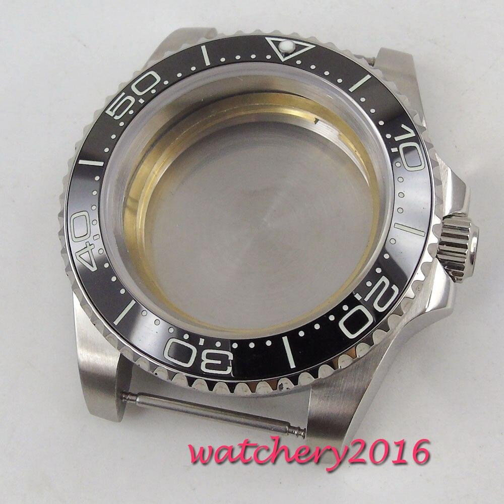 40mm parnis Sapphire Glass Black ceramic bezel Date Watch Case fit 2836 miyota 82 movement mens watch40mm parnis Sapphire Glass Black ceramic bezel Date Watch Case fit 2836 miyota 82 movement mens watch