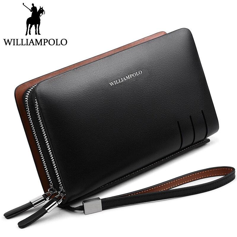 WILLIAMPOLO Fashion Men Clutch Bag Double Zipper Handy Wallet Genuine font b Leather b font Day