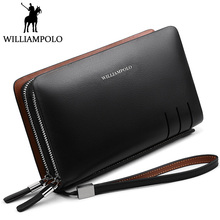 WILLIAMPOLO Fashion Men Clutch Bag Double Zipper Handy Wallet Genuine Leather Day Clutches Zippy Phone Wallet Small Business Bag
