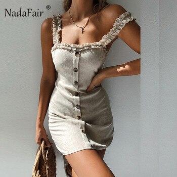 9bec7db5a32 Nadafair volantes mujeres sexy bodycon vestido de verano 2019 espalda  descubierta casual mini vestido de un solo pecho de encaje de playa Correa  wrap ...
