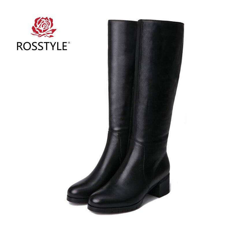 ROSSTYLE Hiver Genou Haute Bottes Véritable de Vache En Cuir Femmes Bottes Longues pour Femmes Noir Bottes Femmes Sexy Chaussures de Haute Qualité 5 cm HeelH2