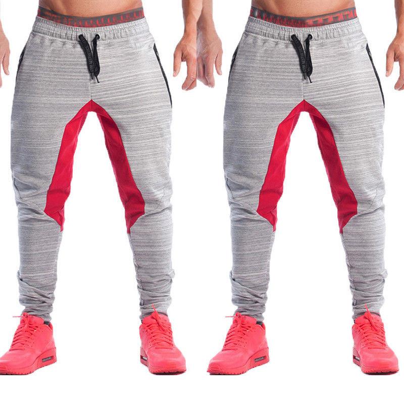 Mens Joggers Pantalones Color Block Patchwork Sudor Pantalones de ... af9fd1c9c4fa