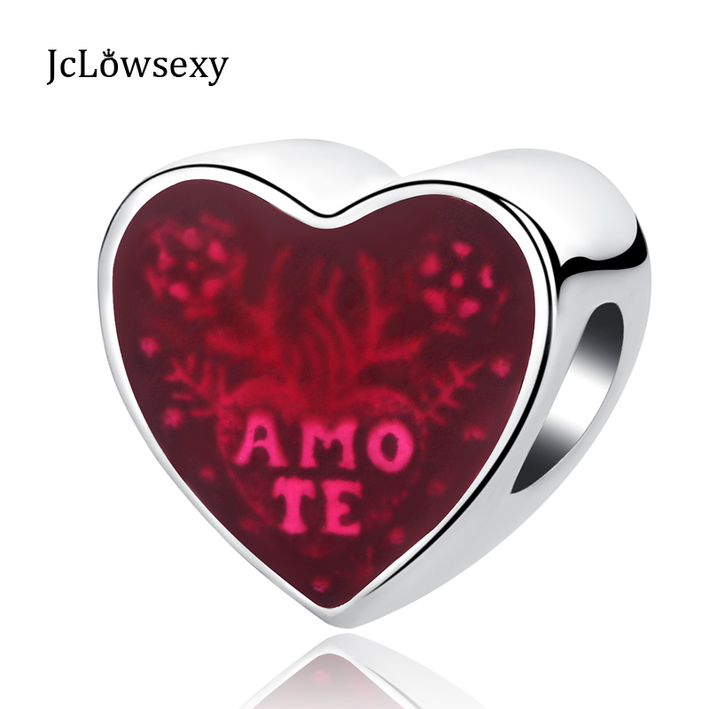 Authentic S925 Sterling Silver Beads Latin I Love You Glaze Heart Red Enamel Charms Fit Pandora Bracelets & Bangles DIY Jewelry