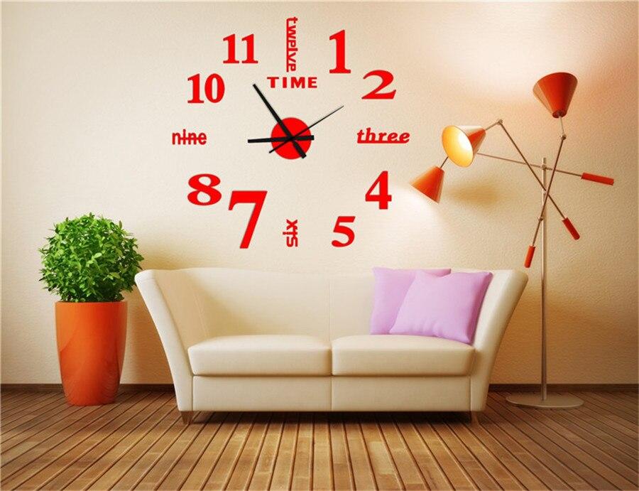 watch wall clock modern math horloge vintage wall wanduhr mirror silent sticker living room quartz klok watch decor for home  (6)
