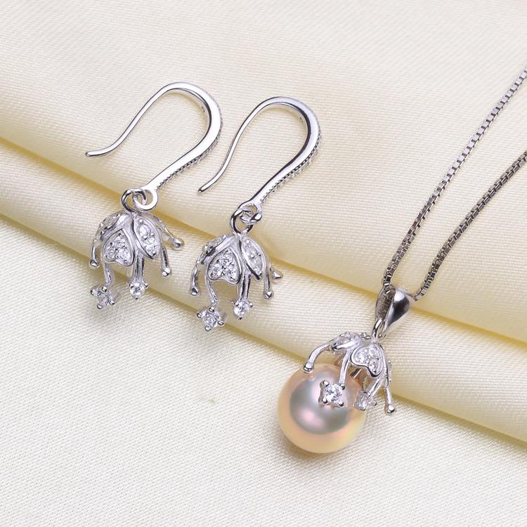 S925 Sterling Silver Fashion Pearl Pendant Earrings Set Mounts Findings Beautiful Jewelry Set Parts Fittings Women's Accessories-in Jewelry Findings & Components from Jewelry & Accessories    1