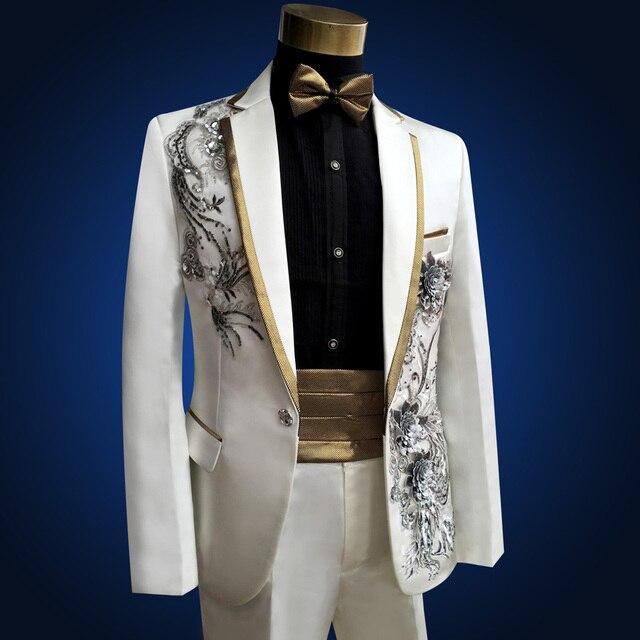 2 pièces ensemble mariage costumes pour hommes nouveau chanteur blanc brodé diamant imprimé hommes robe costume haut de gamme spectacle costumes 4XL 9 couleurs