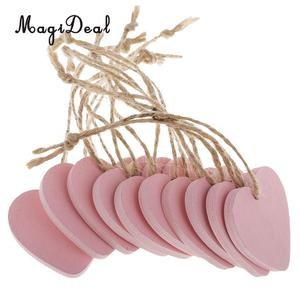MagiDeal 10 Pieces Painted Wood Heart Tags Hanging Craft DIY Home Decorations pink Wind Chimes Hanging Tags Wedding Decoration