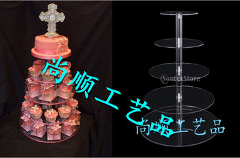Free shipping High quality 5 Tier Crystal Clear Circle Acrylic Round Cupcake Wedding Party Anniversary Display Decor Craft