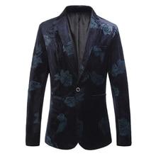 цена на Suit jacket men's fashion blue red printed suit jacket large S-6XL high quality men's slim business casual boutique suit jacket