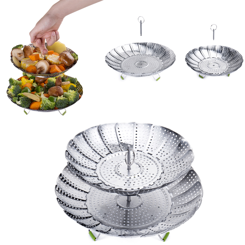 Steamer Instant Pot Cookware Kitchen Steamer Basket Stainless Steel Steam Pot Food Fruit Vegetable Foldable Mesh Cooking Tools