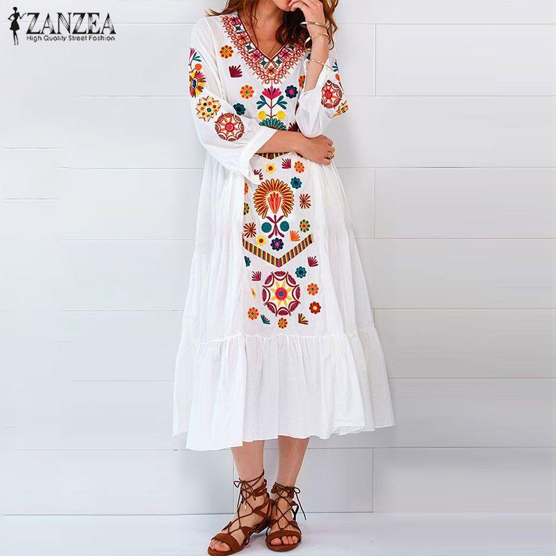 ZANZEA летние богемные Длинные платья женские миди белое платье три четверти рукав сексуальные V шеи Vestidos плюс размер Пляжная уличная одежда