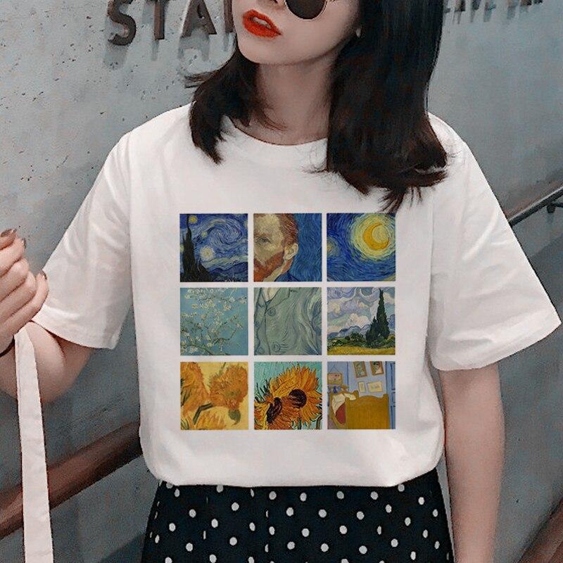 Harajuku Van Gogh Grunge   T     Shirt   Women Aesthetic Oil Paint Print   T  -  shirt   90s Graphic Funny Tshirt Fashion Casual Top Tees Female