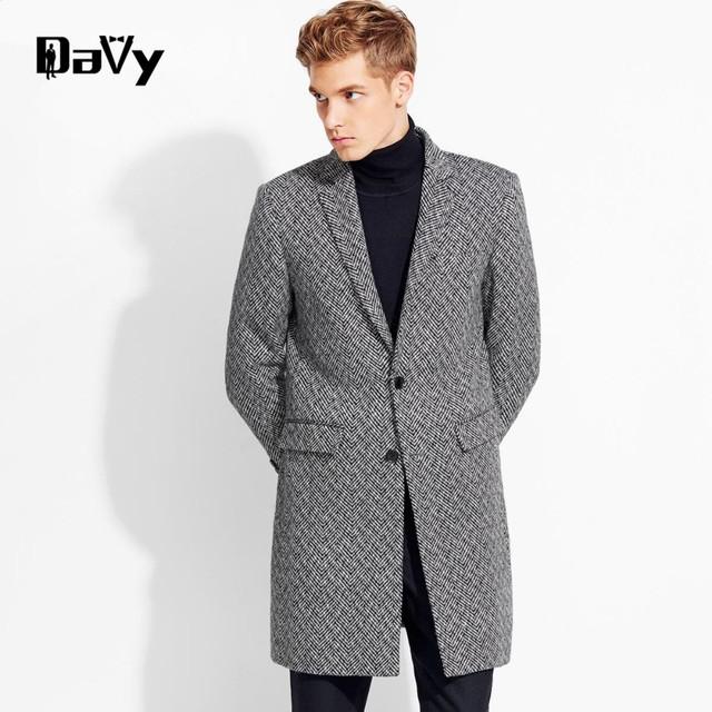Personalizado casaco de lã homens Inverno seções longas de lã grossa casacos Mens Jaqueta Moda Casual casaco masculino palto peacoat sobretudo