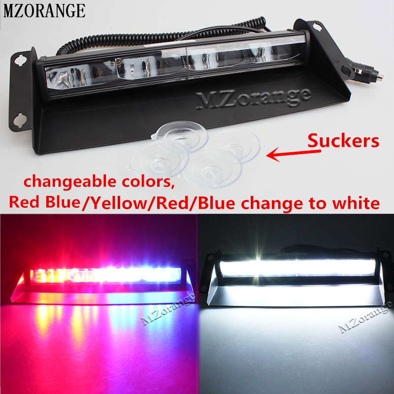 MZORANGE 12 leds 12v 36W Car Warning Light Red Blue White Truck Flash Light Police Strobe Light Dash Windshield Emergency Light штатная магнитола redpower 31066 rips toyota corolla 2013 2016 дорестайл
