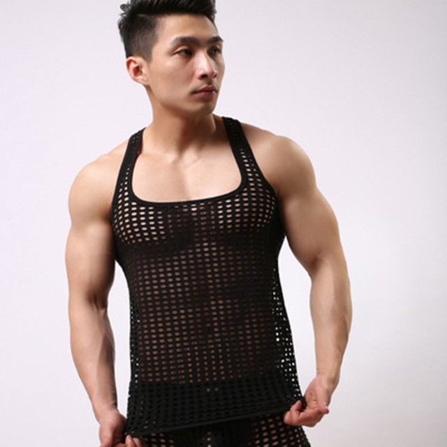 32a66830654d8 Sexy Men Tank Top Brand Mesh See Through Tops Clothing Sleeveless Gay Sheer  Tank Tops Casual Singlets Vest Tanks
