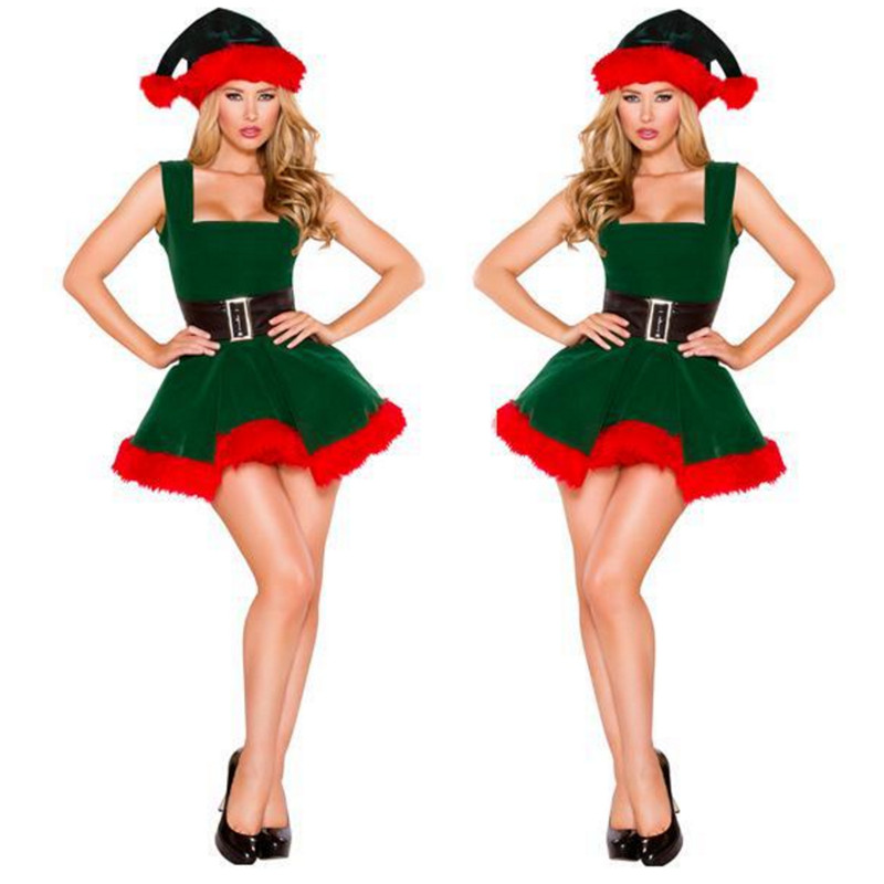 2018 high-quality green Women's Lingerie Elf Christmas tree color Dress with Deluxe Swan Feathers Christmas Costume