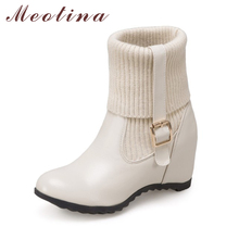 Meotina Women Boots Increasing Heels Sock Boots 2017 Autumn New Design Female Shoes Large Size 33-43 Snow Boots Chaussure Femme