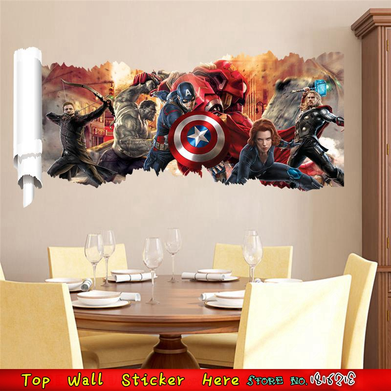 Papier Peint Photo papier peint tissé Auto-Adhésif Art Avengers MARVEL Hulk Thor M04