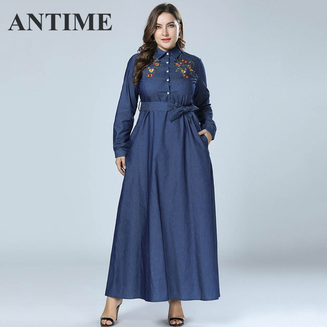 6385b8140b6fc US $25.97 35% OFF|ANTIME Elegant Autumn Chic Floral Dresses Long Sleeve A  Line Women Casual Denim Lapel Single breasted Embroidery Maxi Dresses-in ...