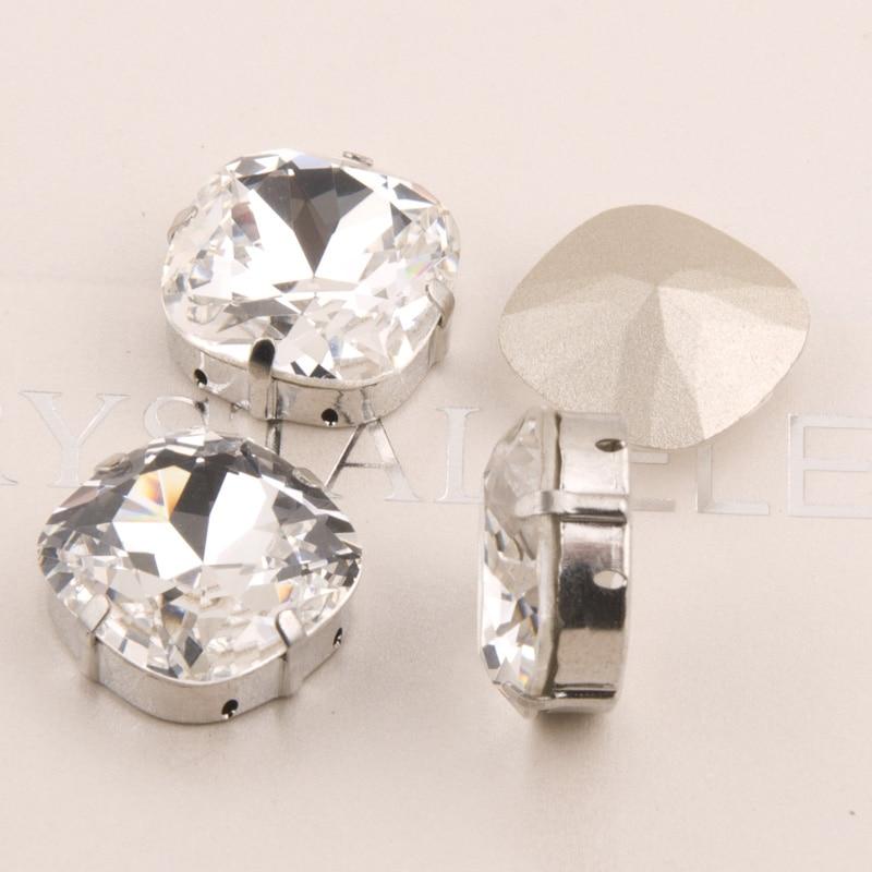 YANRUO 4470 Cushion Crystal Bright Stones Rhinestones Sew On Square Glass Stones Applique Rhinestones Dress